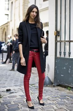 Geraldine Saglio, leather pants, red, blazer, style, French, parisian