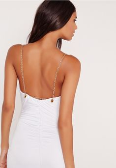 Chain Strap Ruched Back Maxi Dress White - Missguided