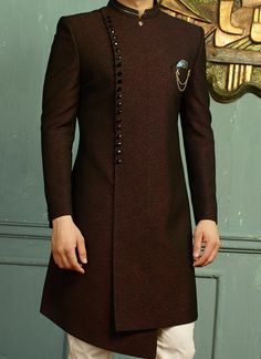 Wine Jacquard Angrakha SherwaniYou can find Sherwani and more on our website. African Wear Styles For Men, African Dresses Men, African Attire For Men, African Clothing For Men, Nigerian Men Fashion, Indian Men Fashion, Mens Fashion Suits, Indian Wedding Clothes For Men, Sherwani For Men Wedding