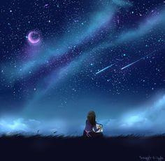 Night Sky practice 1 by Sniggle-Wiggle on DeviantArt Anime Moon, Sky Anime, Anime Galaxy, Anime Art, Night Scenery, Anime Scenery, Night Sky Stars, Night Skies, Fantasy Landscape