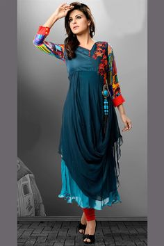 Georgette kurti in dual shades of blue
