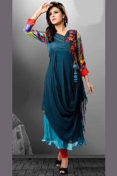 998098466a36a Georgette kurti in dual shades of blue Kurtha Designs, Blouse Designs,  Punjabi Dress,
