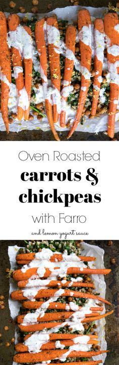 Oven Roasted Carrots and Chickpeas with Farro and Lemon Yogurt Sauce #vegetarian #yogurt #farro #easyrecipe #carrots #sidedish #thanksgivingrecipes #spinach #healthyrecipe