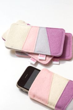 Felt cell phone cover for Iphone and smartphone - pastel pink, purple, blue and off white