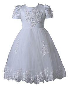 BIXIZHIRAN Girls Appliques Short Sleeve Princess Communion Flower Girl for Pageant White US 14 >>> Check out the image by visiting the link.