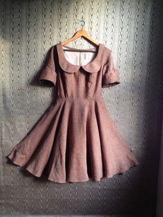 autumnal dress with peter pan collar- brown linen. $185.00, via Etsy.