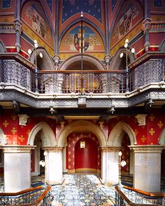 Gothic-inspired colonnades in the St. Pancras Renaissance Hotel, formerly a railway office.