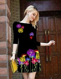 Đầm suông tay lỡ in hoa 3D - A7137 Hand Painted Dress, Painted Clothes, Spring Dresses, Winter Dresses, Wedding Dress Sketches, Kurti Embroidery Design, Dress Painting, Ball Gowns Evening, Clothing Patches