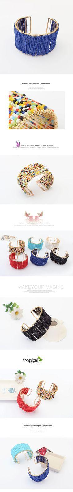 perles de rocaille en verre bracelet manchette, avec alliage de zinc, Plaqué d'or, couleur bleu foncé
