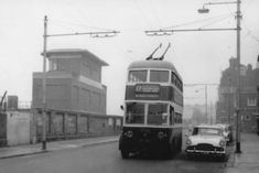 A trolleybus on The Hard passing the now-redundant signal box outside Portsmouth Harbour station. Portsmouth Pubs, Portsmouth Harbour, Bus Coach, Singapore, Britain, Nostalgia, Buses, History, Box