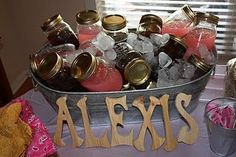 Drinks in mason jars for parties. Can wrap with pretty paper, label on the lid, rim with salt/sugar, or use labeled straws with cute sayings, etc.