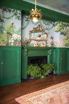 Ken Fulk Kips Bay dining room - scenic wallpaper, vintage rug, maidenhair ferns
