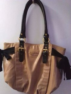 """Simply Vera"" Vera Wang Handbag Large Deep Cream w/Bows both sides  #SimplyVerabyVeraWang #Satchel"