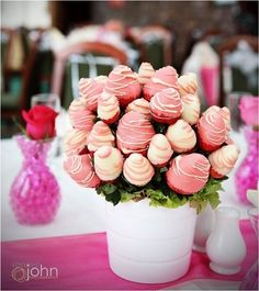 Pink chocolate covered strawberries bouquet.