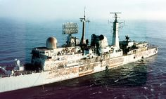 HMS Sheffield after exocet hits...later sank
