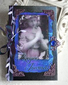 PRAYER JOURNAL altered collage Victorian angel journal, poetry book or sketchbook, hardbound with antiqued black embellishments. $40,00, via Etsy.