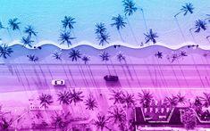 Download wallpapers 4k, road, beach, summer, palms, creative, material design