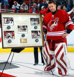 One red hot goalie - Five consecutive shutouts - This record will stand! (Brian Boucher, with the Coyotes in 2003-04, set the modern day shutout record of 332 minutes, 1 second, including 146 consecutive saves.)