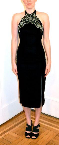 90s Prom Dress in Black Velvet Dress X Small// by Hookedonhoney