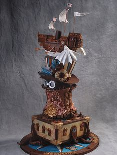 American Cake Decorating ~ Steampunk Cake, what a beauty. Gorgeous Cakes, Pretty Cakes, Amazing Cakes, Cupcakes, Cupcake Cakes, Steampunk Wedding Cake, Gothic Cake, Realistic Cakes, 13 Birthday Cake