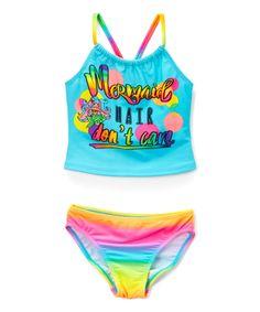 Blue Mermaid Hair Tankini Top & Bottoms - Girls