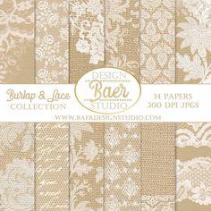 DIGITAL PAPER SALE:Lace Digital Paper, Burlap and Lace Digital Paper, Digital Scrapbook Paper Download, Wedding Digital Paper, 8.5x11 #16034