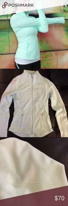 Lululemon forme jacket Bad lighting doesn't show color very very, but it's the exact same jacket as in the first photo. Small white stain on one of the arms as shown in the 3rd photo but very hard to see lululemon athletica Jackets & Coats
