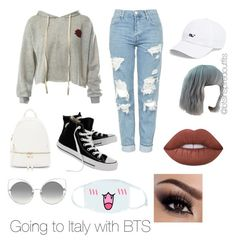 """Bts inspired outfits"" by rachelullmann03 on Polyvore featuring Sans Souci, Topshop, Converse, Lime Crime, cutekawaii, Marc Jacobs, Vineyard Vines and Urban Expressions"