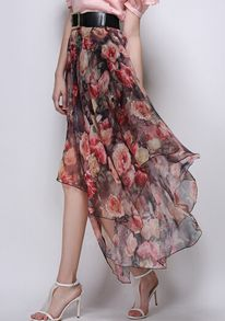 Florals Asymmetrical Hem Pleated Red Skirt