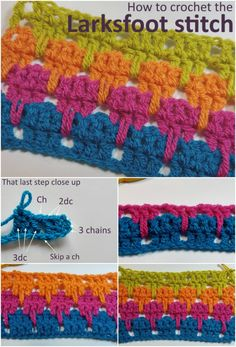 Really good step by step photo tutorial for how to crochet the larksfoot stitch. One of my favorite for using with rows of color in crochet.