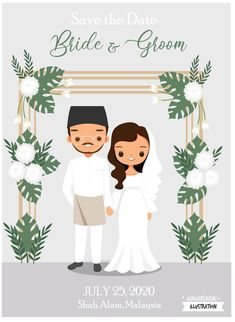 Cute Malaysian Couple Cartoon With Tropical Floral Arch Muslim Wedding Invitations, Save The Date Invitations, Wedding Invitation Cards, Muslim Wedding Cards, Bride And Groom Cartoon, Wedding Couple Cartoon, Arco Floral, Floral Arch, Save The Date Illustrations