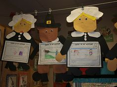 Pilgrim boys and girls. For the writing the children wrote about what they would take with them on the Mayflower, if they were a Pilgrim.