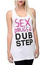 Sex Drugs & Dubstep Pink And Black Girls Tank Top Sku 160330