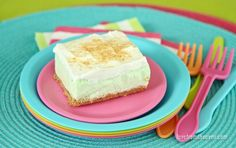 These Key Lime Cloud Squares are a refreshing treat for summer. No need to heat up your kitchen for a delicious dessert, let the freezer do the work! Lime Desserts, Great Desserts, Delicious Desserts, Dessert Recipes, Dessert Ideas, Yummy Food, Pudding Desserts, Bar Recipes, Recipies