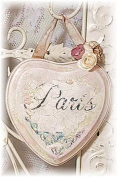 "Vintage Style Romantic French Chic Hanging Heart -- ""Paris"" \\ Rose Cottage Chic"