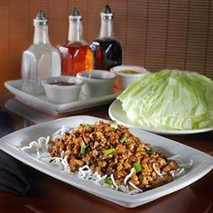 P.F. Changs Lettuce Wraps -- anywhere!  This chain has amazing consistency -- the same delicious food in Las Vegas, Kansas City or Rogers, AR.
