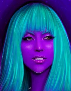 Lady Gaga teal and purple art print 16x20 by KitKatPaintings, $45.00