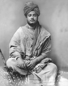 "Swami Vivekananda: ""Stand up and fight! Not one step back, that is the idea. Fight it out, whatever comes. Let the stars move from the spheres! Let the whole world stand against us! Death means only a change of garment. What of it? Thus fight!"" Photo: circa 1885–95, Jaipur, Ramakrishna Mission Delhi."