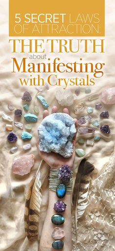 Law Of Attraction Manifestation Miracle - 5 Secret Laws of Attraction, the Truth about Manifesting and attract love, abundance, courage and more by wearing Crystals Manifestation Law Of Attraction, Secret Law Of Attraction, Manifestation Journal, Crystals And Gemstones, Stones And Crystals, Gem Stones, Meditation Crystals, Crystal Meanings, Crystal Grid