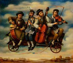 """Klaizmers"" by Boris Shapiro, Ukraine Jewish History, Jewish Art, Jewish Music, Arte Judaica, Music Illustration, Naive Art, Art Google, Photo Art, Street Art"