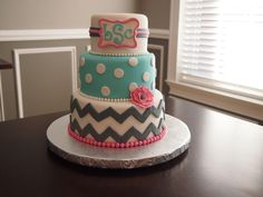 First Birthday Cakes - Chevron and Monogram Birthday cake Chevron Birthday Cakes, Chevron Cakes, First Birthday Cakes, Birthday Cake Girls, 13th Birthday, Birthday Ideas, Birthday Parties, Girly Cakes, Fancy Cakes