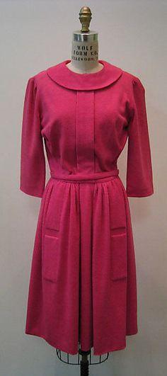 Dress  Mainbocher (American, 1890–1976)  Date: ca. 1965 Culture: American Medium: wool, silk