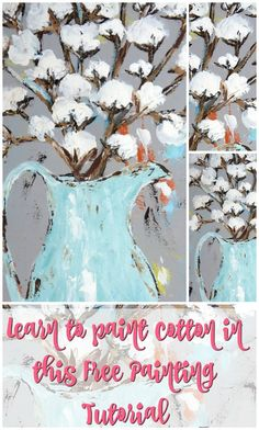 A Free Cotton Painting Lesson Just For You bolls are super popular right now in decor! With these lessons, you'll be whipping up cute decor for yourself or for gifts in no time! Canvas Painting Tutorials, Painting Lessons, Diy Painting, Painting Canvas, Painting Techniques, Basic Painting, Painting Videos, How To Paint Canvas, Painting Classes