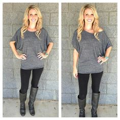 Dolman Top: Marble Grey from privityboutique