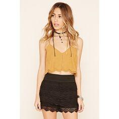 Forever 21 Women's  Tiered Crochet Skirt ($13) ❤ liked on Polyvore featuring skirts, macrame skirt, forever 21, tiered skirt, crochet skirt and forever 21 skirts