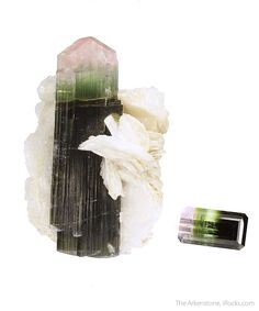 "RNC15-050 Tourmaline (rough and cut set) Stak Nala, Gilgit, Pakistan Miniature, 4.3 x 3.3 x 2.8 cm (Crystal), 11.62 ct (Gem) 4.3 x 3.3 x 2.8 cm (Specimen); 11.62 carats; 17.19 mm x 9.52 mm (Gem) - Tourmaline is one of the most popular gems and minerals in the world, and has a such a wide range of colors. The ""rough"" end of this set features a classic crystal from the most famous Tourmaline locality in Pakistan, Stak Nala. It has a multicolor gradiation ranging from a soft pink pyramidal…"