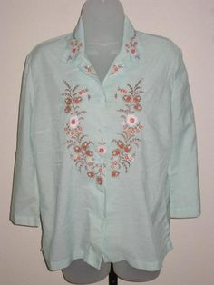 Vintage 60's - 70's Embroidered Sheer Cotton Blouse $14.95