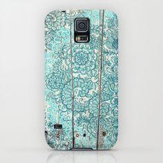 Teal & Aqua Botanical Doodle on Weathered Wood iPhone & iPod Case