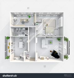 3d interior rendering plan view of furnished home apartment with two balconies: room, bathroom, bedroom, kitchen, living-room, hall, entrance, door, window