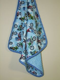 Dirt Bike Minky Blanket Ships in 13 Days by taramcwilliams on Etsy, $36.00